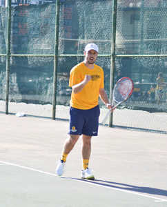 Chalice KeithThe News Srdjan Trosic, sophomore from Novi Sad, Serbia, celebrates a match point.