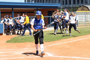 Nicole Ely/The News Eastern Illinois' freshman utility player Jennifer Ames flew out to end the top of the sixth inning during Sunday's game. The Panthers beat the Racers 2-0.