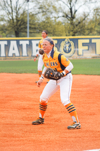 McKenna Dosier/The News Senior infielder Erica Howard stands prepared to catch a ball during the Racers' second game against Belmont last weekend.