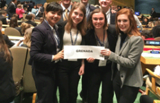 Photo courtesy of Choong-Nam Kang/The News Model UN members (front row, left to right, Maftuna Tojiboeva, Melody Foster, Alli Strong and Breanna Bethel, back row, left to right, Stephen Terkula, Joao Pelosi and Sam Hoffman) attended the National Model United Nations Conference in New York where they acted as delegates of Grenada.