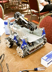 Photo courtesy of Alec Leedy The robot the Racer's Robotics Team built for the competition.