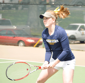 Emily Harris/The News Senior Erin Patton, from Memphis, Tennessee, played on the No. 1 doubles team this season, with her partner Haily Morgan, freshman from Anthem, Arizona.