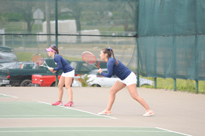 Emily Harris/The News Senior Megan Blue, from Mississauga, Ontario, and freshman Amina Hadzic, from Esbjerg, Denmark, went 1-1 at the OVC Tournament.