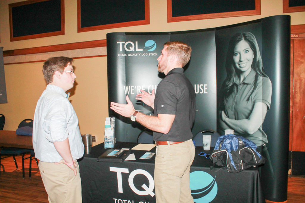 Austin Port, sophomore from St. Louis, attended the All Majors Career Fair Tuesday. Photo by Jenny Rohl/TheNews.