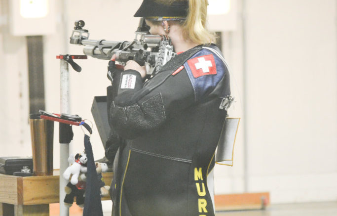 Sophomore from Gais, Switzerland, Barbara Schlapfer settles her shot at the Pat Surgin RiFle Range during the Withrow Invitational.